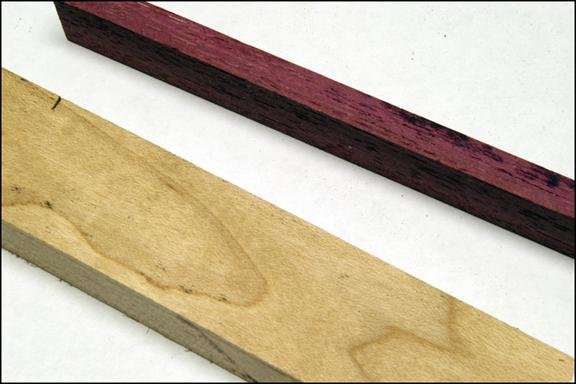 A close-up of purpleheart and hard maple