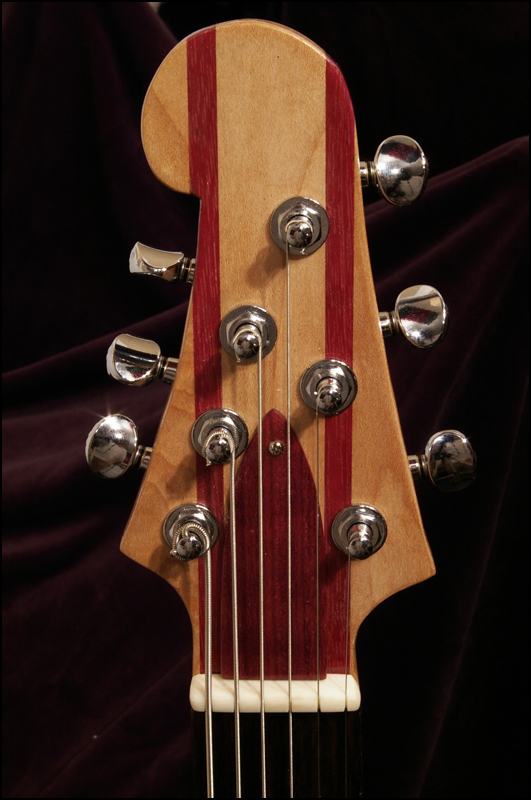 A photo of the baritone's headstock from the front